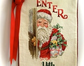 Cross Stitch Santa's Welcome Banner Door Decoration