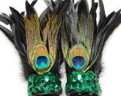 Peacock Feather Cuffs Mardi Gras Carnival Adult Unisex Arm Bands