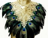 Emerald Peacock Victorian Gold LACE Coque Feather Corset Collar Romantic Elegance