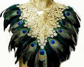 Emerald Peacock Victorian Gold LACE Coque Feather Corset Collar Romantic Elegance