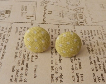 Fabric Button Earrings - Olive Green with White Spots