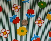 """Pretty Vintage 1960s Cotton Fabric, Bright Flowers and Stripes 42 1/2"""" Wide x 91"""""""