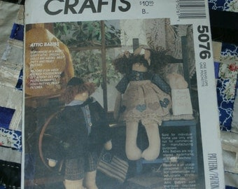 Cute Vintage McCalls Craft Pattern 5076, Attic Babies Dolls and Clothes