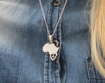 Africa necklace, africa with heart, sterling silver, african pendant, Africa, handmade