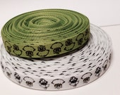 """3/8"""" Grinch Grosgrain in White or Green - by the yard"""