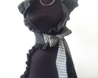 Elegant ladies vest gray black white ribbon