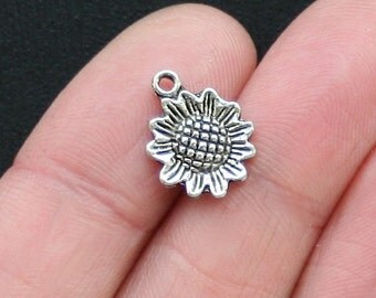 10 Sunflower Charms Antique  Silver Tone Beautiful Detail - SC2785