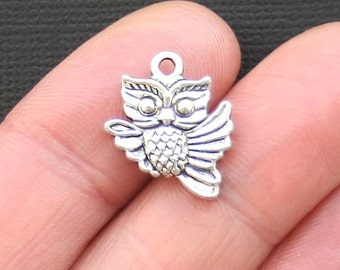 BULK 40 Owl Charms Antique Silver Tone 2 Sided - SC3270