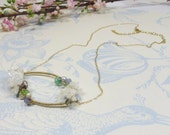 Delicate Gemstone Necklace, White Druzy Quartz Necklace w Wirewrap 14KT Goldfill Peridot Pearls Tanzanite Aquamarine Keishi Pearls Apatite