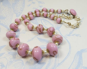 Pink Vintage Japan Lampwork Glass Bead Necklace, Pretty Vintage Pink and Gold Aventurine Restrung Japanese Lampwork Bead Necklace