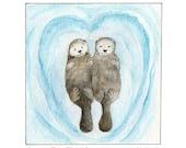 Sea Otters Holding Hands 8 x 10 Art Print