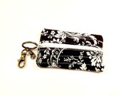 Handmade/Keychain/Zipper Coin Purse/Lobster Clasp/Black and White/Ready to Ship