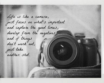 Photography notecard Camera quote card Photographer greeting letter mail Life is like a camera Focus important capture good  times develop