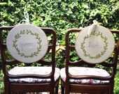 Wedding Chair Signs, Bride and Groom Embroidered Hoops, Set of 2 , Wedding Decor, Wedding Photo Prop MADE TO ORDER by MamaBleuDesigns