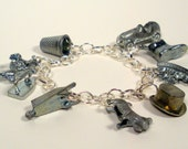 Upcycled Monopoly Game Pieces Charm Bracelet, Recycled Pewter Game Pieces