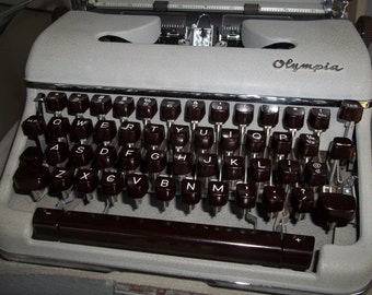 Olympia Typewriter with Burgundy-Colored Keys, Repainted Silver Case, Vintage Typewriter, Grey, Office Machine, Writing, Typing