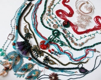 Beadwork Necklaces Clearance SALE - 11 Turquoise, Green, Coral plus Earrings, Bracelet Less than Wholesale