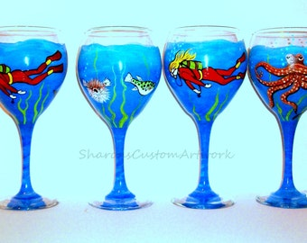 Hand Painted Red Wine Goblets Diver and Tropical Fish Octopus Puffer French Angelfish Manta Ray Wine Glasses Glassware