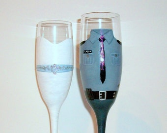 Wedding Dress and  State Trooper  Uniform Hand Painted Set of 2 Champagne Flutes, Wedding,Anniversary,Special Occasion