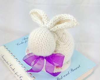 Knitted Alpaca Wool bunny, Plush bunny, Easter bunny,  toy rabbit, white purple