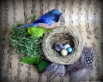 CLEARANCE: Nesting Blue Bird Package - Millinery Embellishment Materials, Victorian Steampunk
