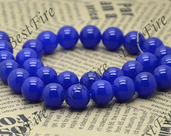 Single 14 mm of Round Blue jade beads loose strands,loose bead,round gemstone bead, stone bead 15inch