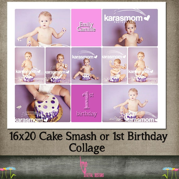 birthday cake smash 1st template storyboard collage cs. Black Bedroom Furniture Sets. Home Design Ideas
