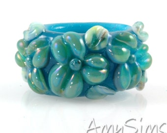Regaliz Atlantis Blue Shimmer Floral Artisan Lampwork Glass Focal Bead B0907-6