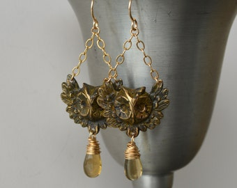 Owl Earrings, Black Brass and Gold Filled Wire Wrapped Earrings, Champagne Citrine Earrings