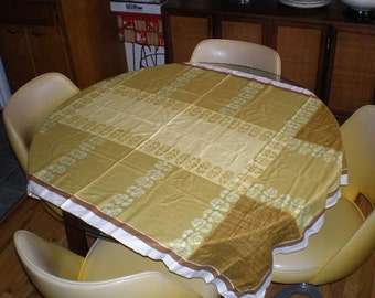 Vintage Mid Century Cotton Table Cloth - Earth Tones