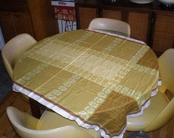 Vintage Mid Century Cotton Table Cloth - Earth Tones
