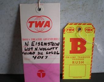 Vintage Mid Century TWA Airline Travel Tags