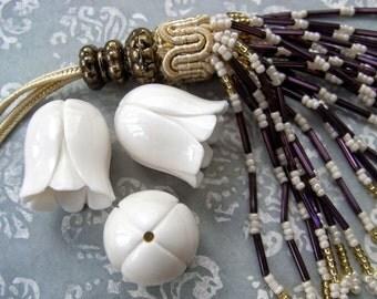 Eternity Lotus Carved Bone Tassel Cap Bead