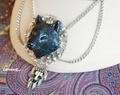 Cunene Wolf necklace, sculpture, black polymerclay, metal filigree, handmade