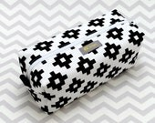 Studio and Sample Sale - Small Box Bag, Cosmetic Bag or Pencil Case - Black and White