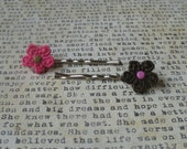 Crochet Flower Bobby Hair Pins (Pink and Brown)
