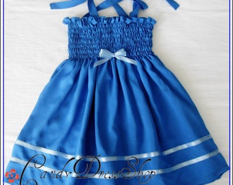 Dark blue dress for baby girls - Spring dress - Easter dress - Birthday party dress - Baby blue dress - Girls blue dress - Soft blue dress