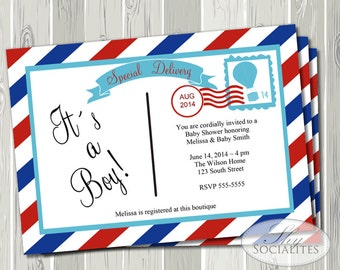 Special Delivery Post Card Invitation | Special Delivery Baby Shower, Hot Air Balloon Stamp, Airmail, It's a Boy | INSTANT DOWNLOAD