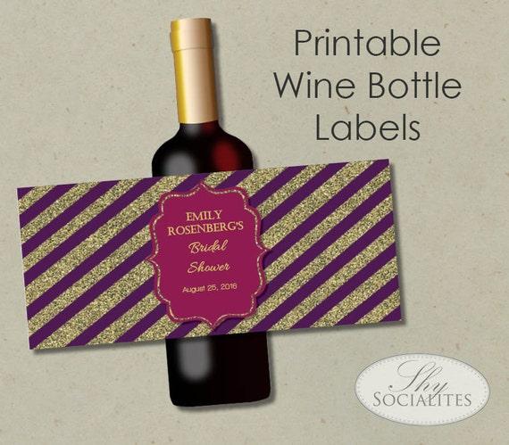 Printable Wine Bottle Labels: Purple Fuchsia & Gold Glitter Printable Wine Label Hostess