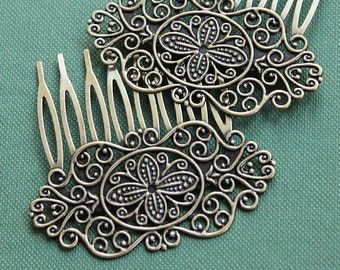 2Pcs Wholesale High Quality Antique bronze plated Brass Filigree hair comb Setting Nickel Free Lead Free (COMBSS-16)