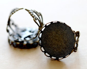 10PCS 20mm Antiqued Bronze Adjustable lace edged Filigree Ring Bases   blank setting With 20mm   Bases (RINGSS-139)