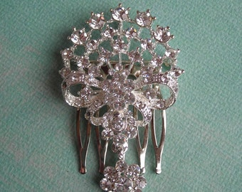 LAURA  ~  Bridal Art Nouveau Silver Bouquet with Ribbon Bow and Austrian Crystals Hair Comb
