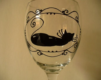 Black cat, Hand painted wine glass