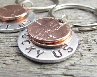 SET of 2 Lucky Us Keychain Key Chain TWO Penny Pennies Hand Stamped Silver Aluminum Penny Year from 1950 to 2017 Anniversary Wedding Gift
