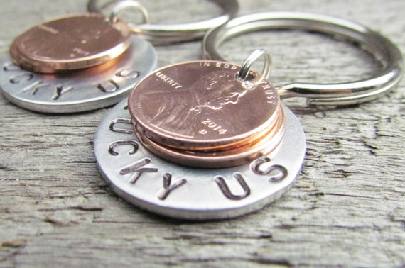 SET of 2 Lucky Us Keychain Key Chain TWO Penny Pennies Hand Stamped Silver Aluminum Penny Year from 1950 to 2018 Anniversary Wedding Gift