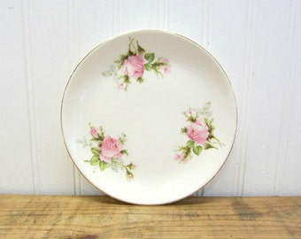 """Vintage Small 6"""" White Ironstone Type Plate with a Pink Roses and Gold Trim"""
