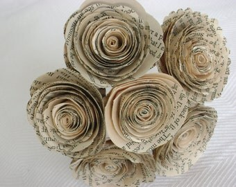6 bouquets group spiral book page paper flower rose bouquets for weddings and decorations