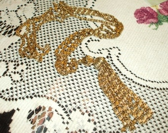 Vintage Double Strand Necklace With Tassel Dangle Gold Tone Scroll Chains Retro Boho Gypsy Victorian Christmas Holiday Wear