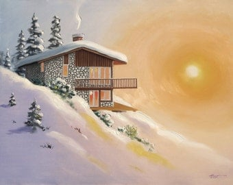 Chalet winter snow 30x40 oils on canvas painting by RUSTY RUST / M-245