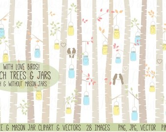 Birch Trees and Mason Jar Clipart Clip Art, Autumn Aspen Tree and Love Birds Clipart Clip Art Vectors - Commercial and Personal Use